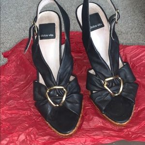 Black with gold clasp leather with Wooden heel